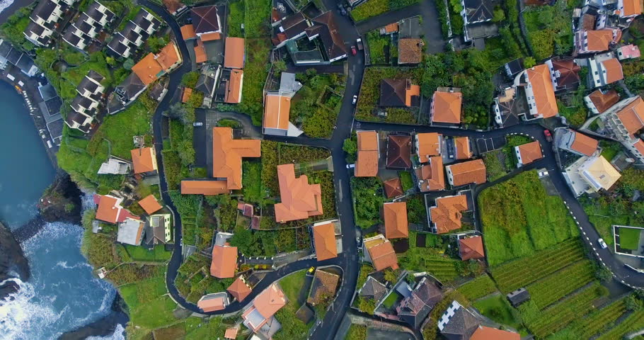 Aerial view of roofs unidentified village in countryside | Shutterstock HD Video #32383435