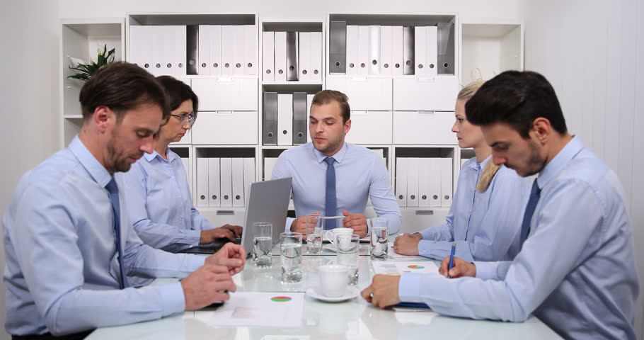 Business Manager Man Give Negative News to Professionals Staff Team in Boardroom | Shutterstock HD Video #32387953