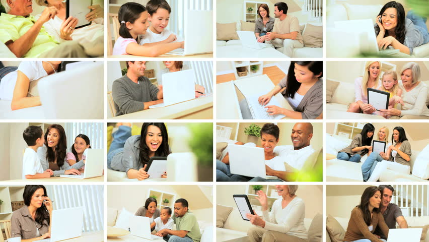 Montage images showing adults & children using modern wireless technology for recreation and communication in the home   Shutterstock HD Video #3239437
