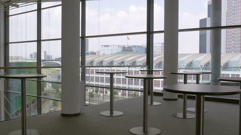Modern architecture from inside looking out.