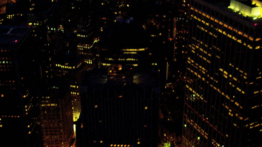 Aerial view of downtown Manhattan illuminated at night, 1WTC, Hudson river, New York | Shutterstock HD Video #3243214