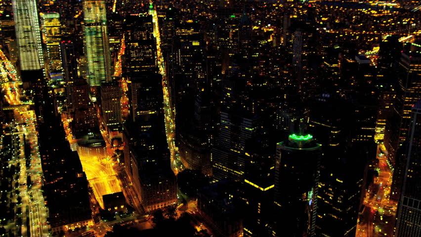 Aerial illuminated view One World Trade Center, Downtown Financial District, Hudson river, Manhattan,New York, USA | Shutterstock HD Video #3243685