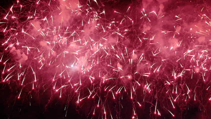 Colorful bright pyrotechnic show, flashes of salute firework of different colors close up view   Shutterstock HD Video #32438302