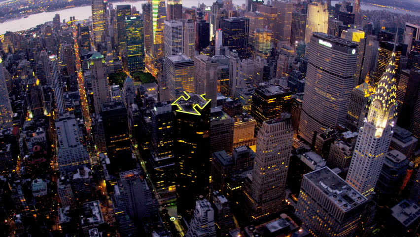 New York - August 20, 2012: Aerial view Chrysler Building illuminated dusk New York  | Shutterstock HD Video #3243877