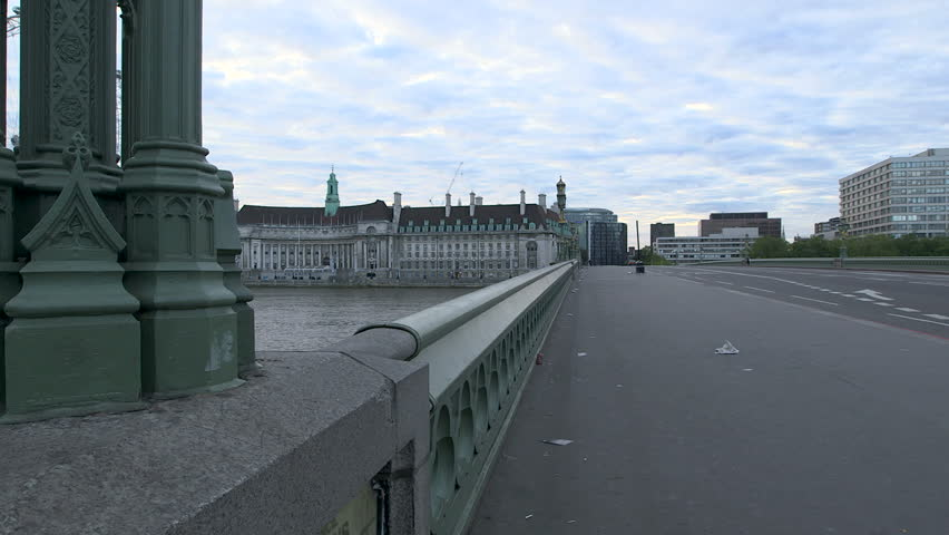 Empty Westminster Bridge London Parliament County Hall South Bank haunting