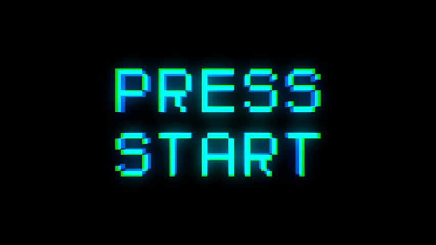 Press start text with bad signal. Glitch effect