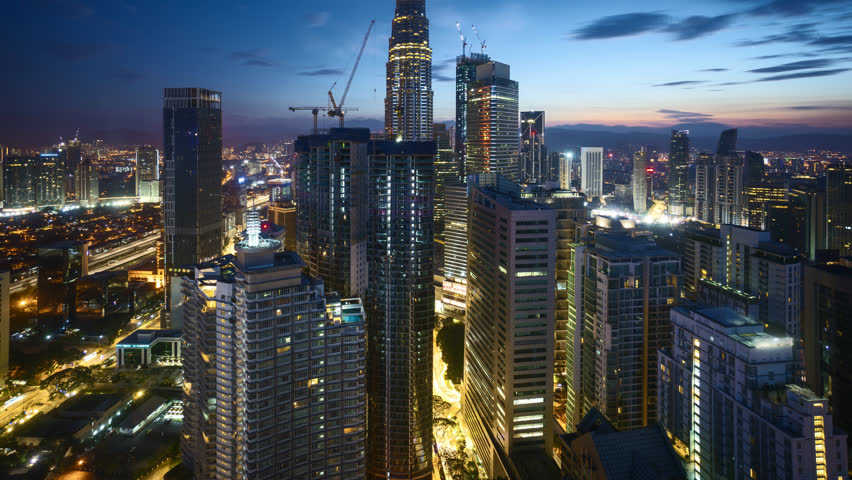 4k time lapse of dramatic sunrise at Kuala Lumpur city. Sunrise from the horizon line. Aerial view. Tilt up | Shutterstock HD Video #32443273