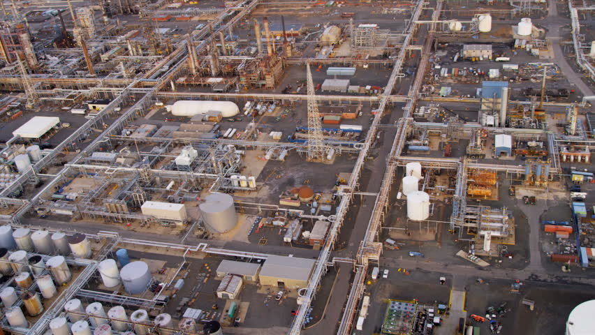 Aerial view refinery generating and producing energy to power American cities, North America