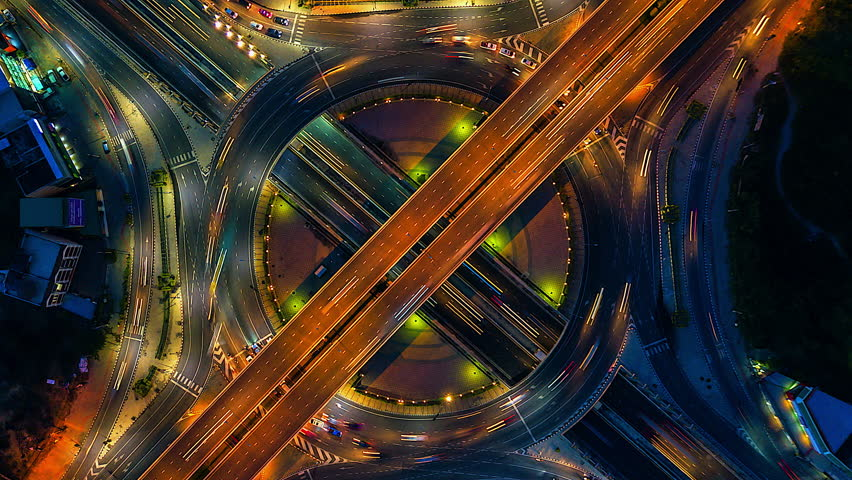 Aerial view Time lapse of the expressway, motorway and highway in the detail of Circle  intersection bangkok Thailand