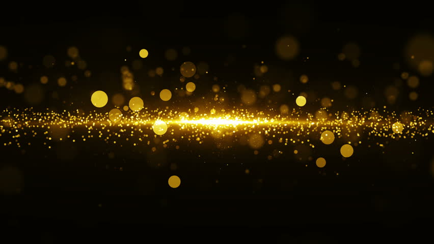 Abstract golden background with light in center and particles. Starburst with sparks, seamless loop texture. #32469364