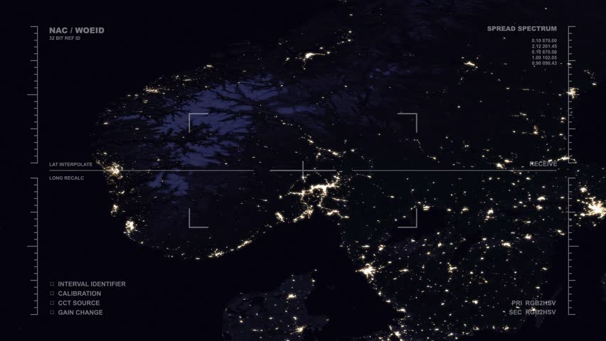 Nighttime aerial surveillance flyover of the North Sea region. Reversible, seamless loop. Elements of this image furnished by NASA | Shutterstock HD Video #32488510