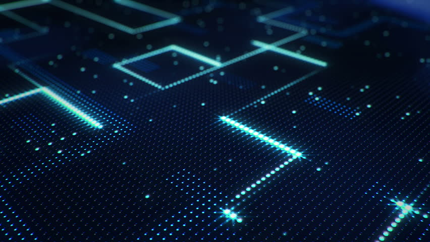 Abstract technology background of led screen with moving stripes and flickering particles. Animation of circuit electric signal with light shine. Animation of seamless loop. | Shutterstock HD Video #32508082