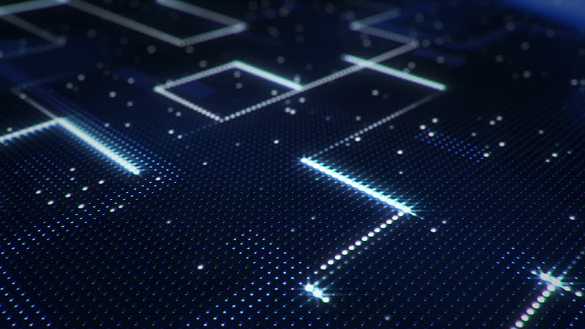 Abstract technology background of led screen with moving stripes and flickering particles. Animation of circuit electric signal with light shine. Animation of seamless loop. | Shutterstock HD Video #32508484