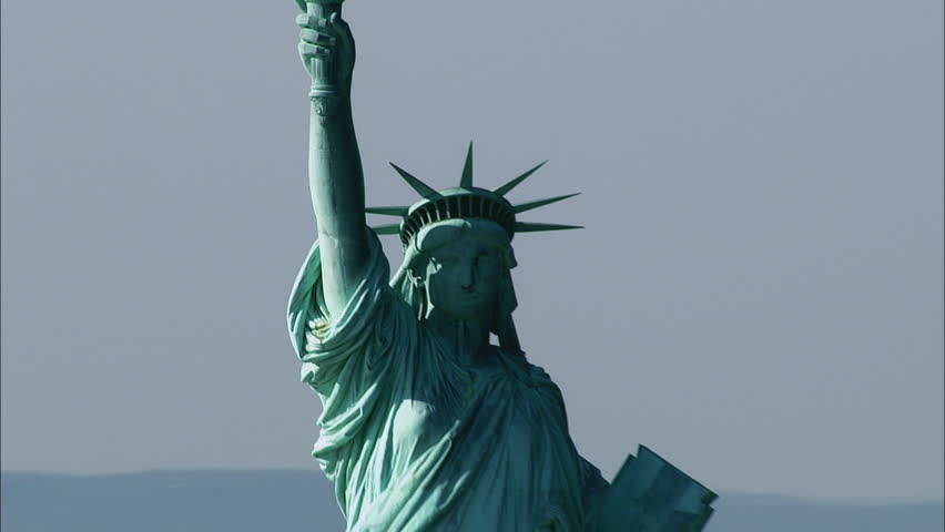 WS AERIAL ZO Cityscape with Statue of Liberty / New York, New York State, USA | Shutterstock HD Video #32523508