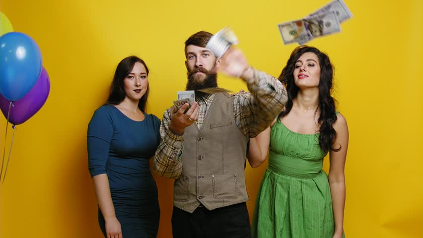 Geek man throwing money slow motion party photo booth Royalty-Free Stock Footage #32561938