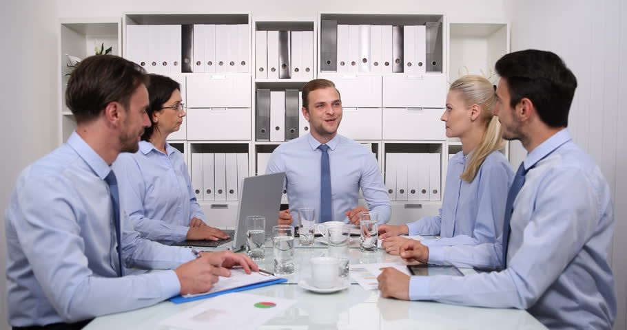 Optimistic Business Manager Announce Staff Team Good News Results in Boardroom | Shutterstock HD Video #32568085
