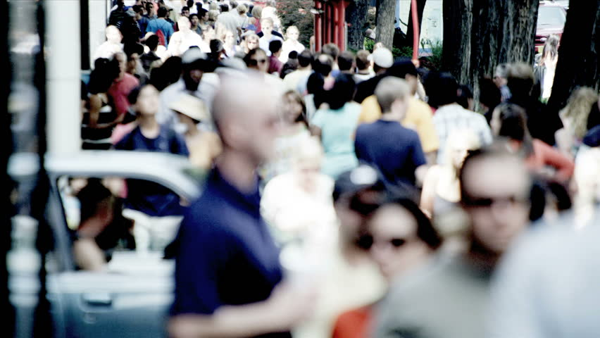 America - August 22, 2012: City people walking busy streets in summertime timelapse  | Shutterstock HD Video #3257122