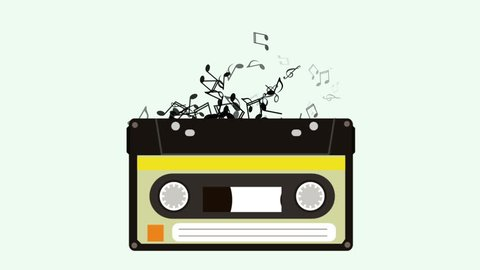audio cassette tape playing with music note