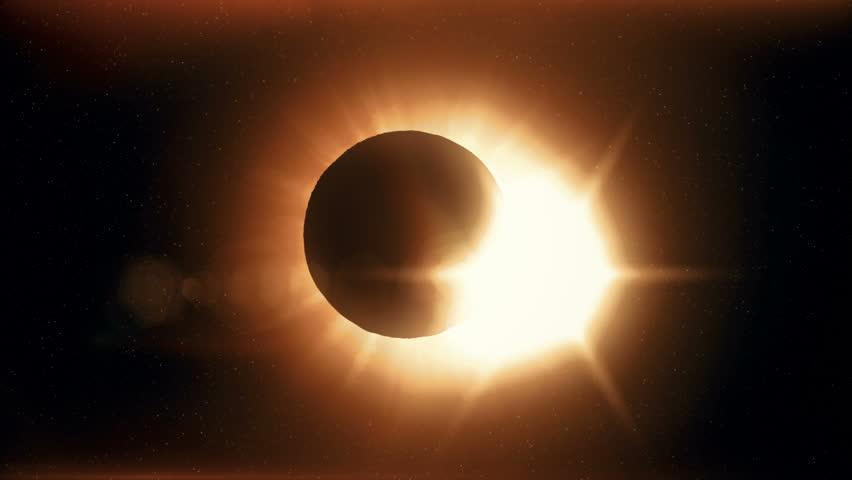 Full solar eclipse the moon closes the sun