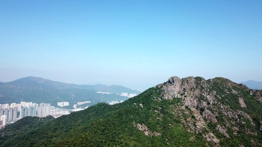 Lion Rock mountain with blue sky in Hong Kong #32603119