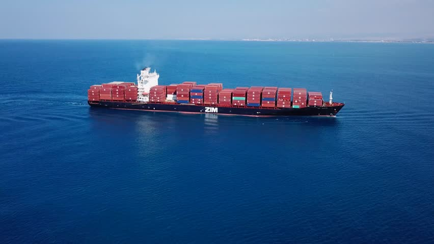 Mediterranean sea - November 6, 2017: Large ZIM container ship at sea, loaded with various container brands - Aerial footage | Shutterstock HD Video #32636098