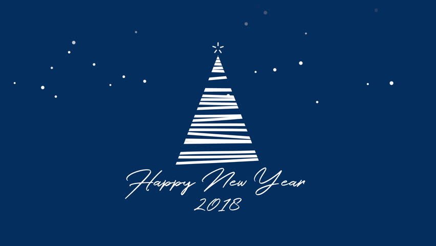 Happy New Year 2018 text, animated footage in 4K. White Christmas tree on blue background. Luxury and elegant dynamic style template in video format 3840x2160   Shutterstock HD Video #32645239
