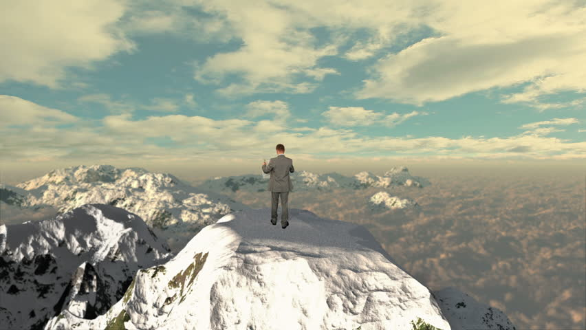 Lost Businessman with Map on top of the mountain | Shutterstock HD Video #3265420