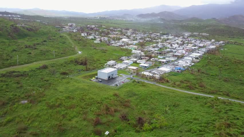 San Juan, Puerto Rico - October 03, 2017: Aerial view of hurricane Maria's damage on small town in Puerto Rico Royalty-Free Stock Footage #32657473