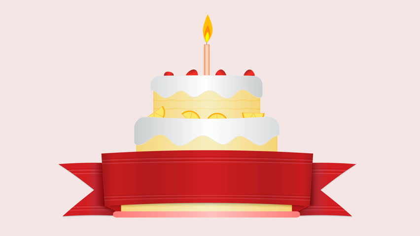 Astounding Animation Of Flat Design Birthday Cake With Candle Flame Personalised Birthday Cards Veneteletsinfo