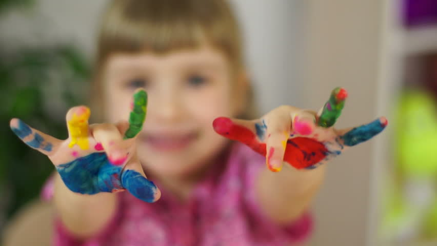Funny girl coloring. Girl covered in fingerpaint