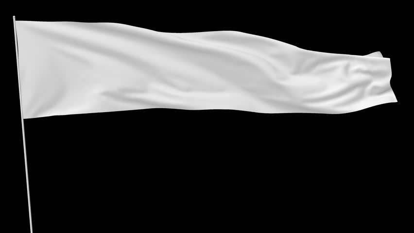 Long blank plain white flag on flagpole flying and waving in the wind, surrender flag, 3D animation with alpha channel included