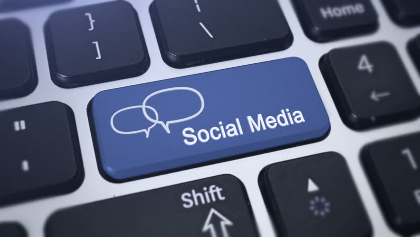 Social Media Key. Social Media button on a keyboard with speech bubbles.