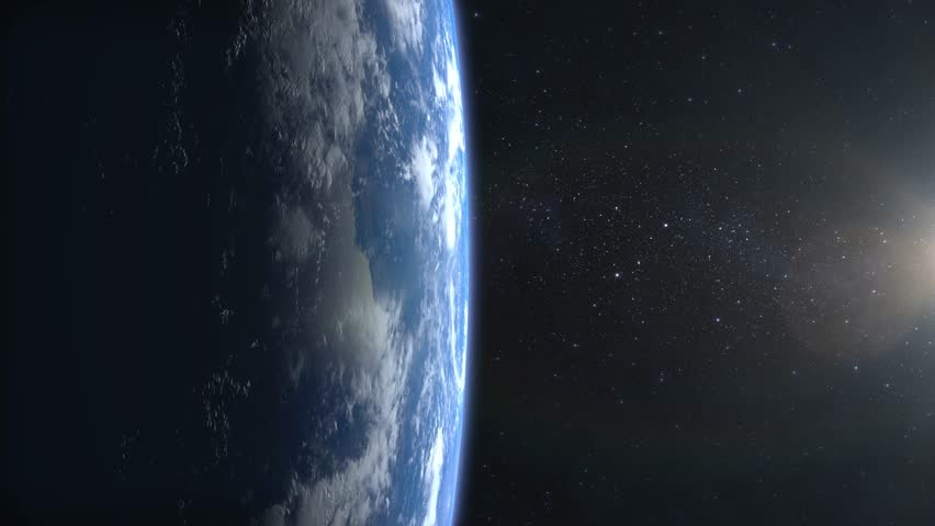 Beautiful View of Earth from space. Sunrise. Flight over the Earth. 4K. The camera flies away. Earth is on the left of the screen. 3D Animation. | Shutterstock HD Video #32691643