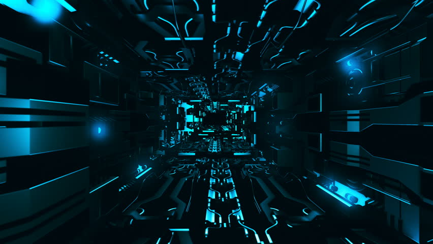 Fly inside of futuristic metallic corridor | Shutterstock HD Video #32695870