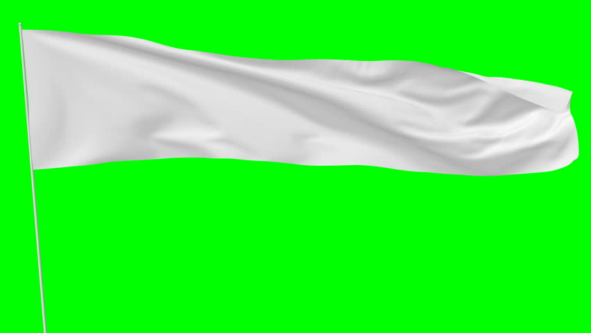 Long blank plain white flag on flagpole flying and waving in the wind, surrender flag, 3D animation with green screen