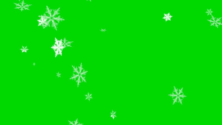 Falling Snowflakes - Loop - Green Screen