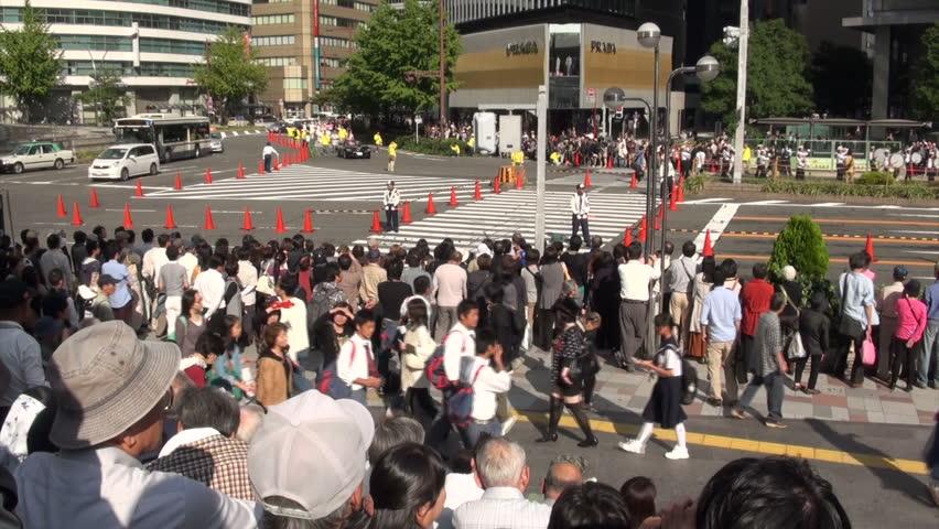 NAGOYA, JAPAN - 20 OCTOBER 2012: Crowd of spectators waits for the Nagoya Matsuri (festival) to start #3270170