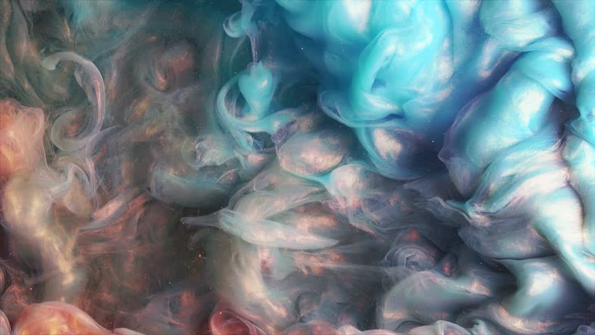 Colorful red/blue paint drops mixing in water. Ink swirling underwater. Colored acrylic cloud abstract smoke explosion animation. Close up view