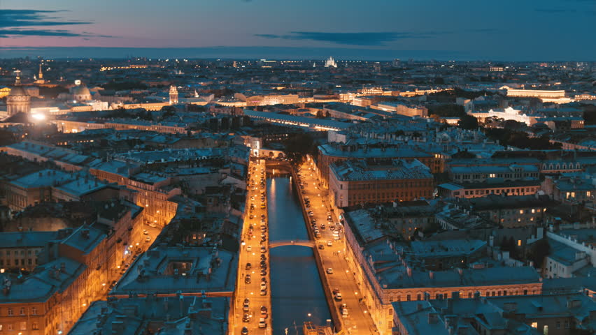 View from above on the city and river channel, Saint Petersburg | Shutterstock HD Video #32714149