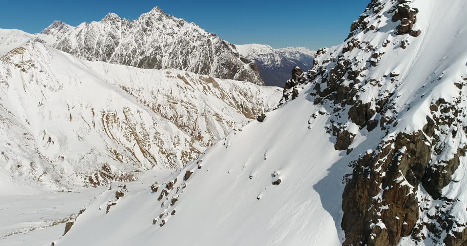 Chile Winter Weather Maipo Canyon Andes Mountains Aerial Drone Flyover Rocks