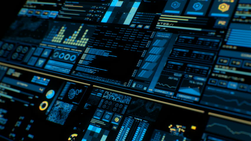 Perspective view of colorful futuristic interface/Digital screen/Detailed abstract background. Blinking and switching indicators of command center computer,processing data, AI.