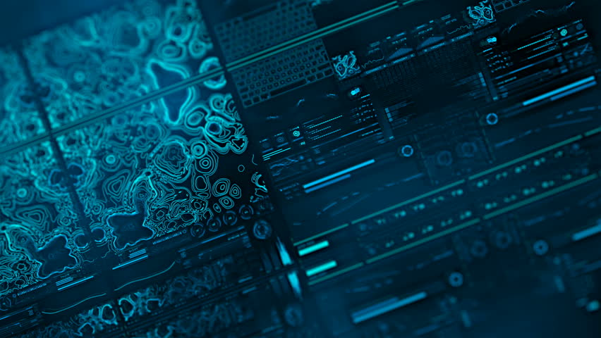 Perspective view with out of focus areas of futuristic interface/Digital screen/Detailed abstract background. Blinking and switching indicators of command center computer,processing data, AI.   Shutterstock HD Video #32728159