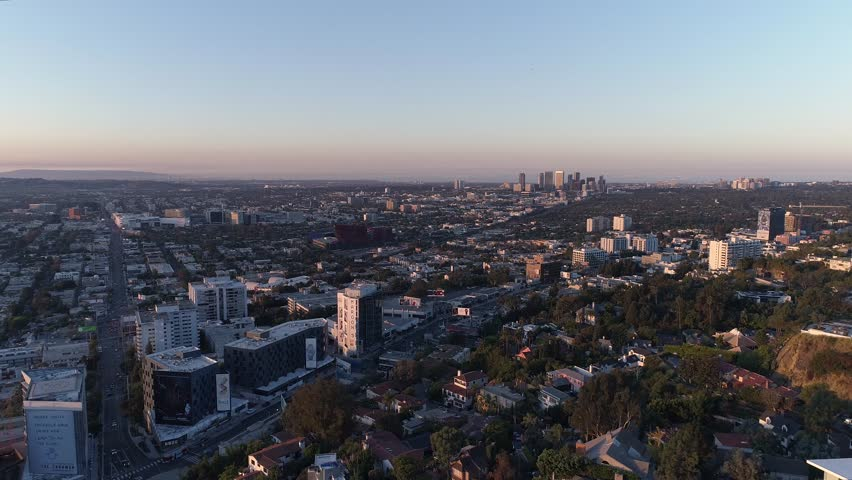 Sunset boulevard hills at sunrise drone | Shutterstock HD Video #32735329