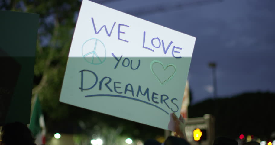 August, 2017 Los Angeles, USA:Signs at the DACA march in downtown Los Angeles, California.