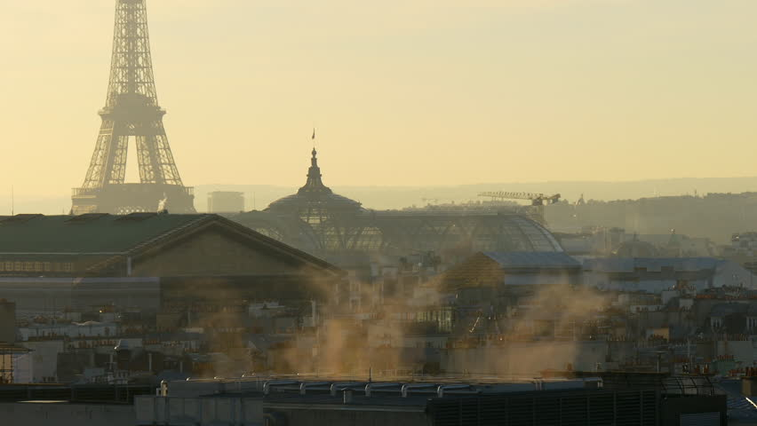 Sunset paris galeries lafayette rooftop smoke cityscape eiffel tower panorama 4k france | Shutterstock HD Video #32763115
