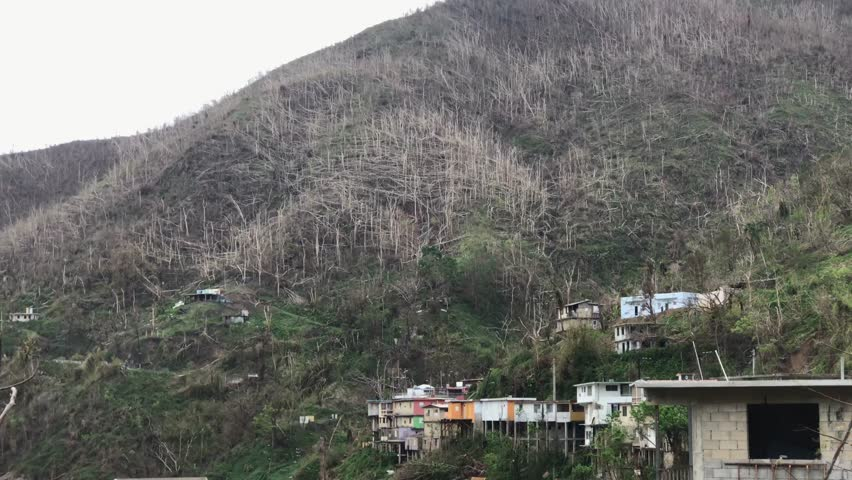 San Juan, Puerto Rico - October 03, 2017: View of structural damages on houses by hurricane Maria, Puerto Rico #32765491