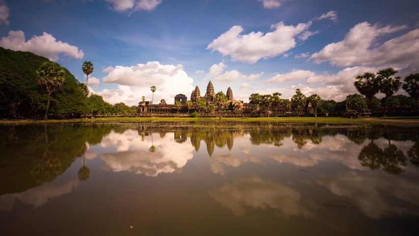 Angkor wat reflection with clouds