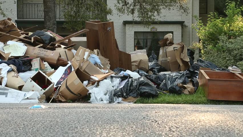 Hurricane Debris on Sidewalk