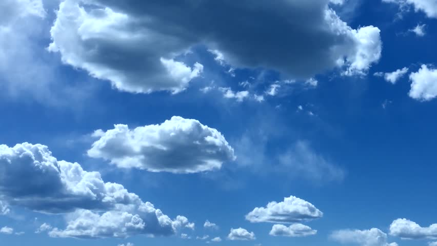 PUFFY CLOUDS, fluffy white, blue sky time lapse motion background, heaven. Big building, formating mass moving in horizon, summer sunny clean weather. FHD.