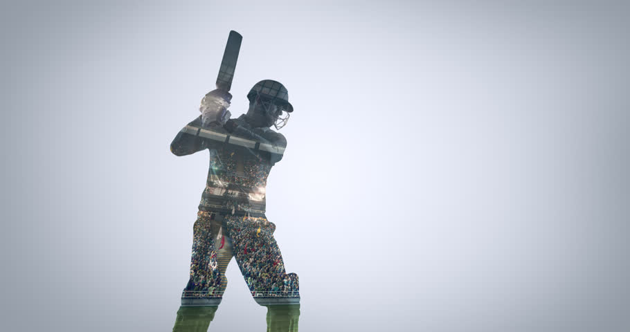 Multiple exposure of a cricket player with professional stadium visible on contour. The stadium is made in 3D with no existing references.